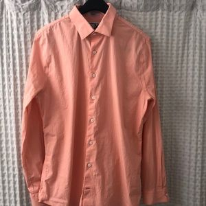 Express Slim Fit Salmon Patterned Button Down
